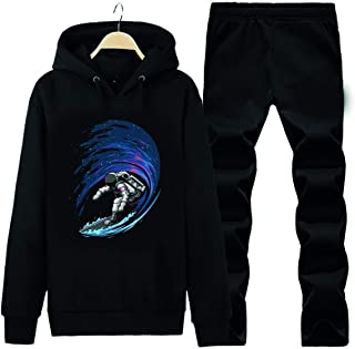 Art T-shirt-SURFING IN SPACE UNISEX KAPÜŞONLU EŞOFMAN TAKIMI-SİYAH-S