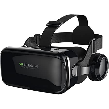 FIYAPOO Occhiali VR 3D Visore Realtà Virtuale Occhiali Headset Virtual Reality 3D Film Glasses per iPhone Android Smartphones (Occhiali VR con Cuffie)