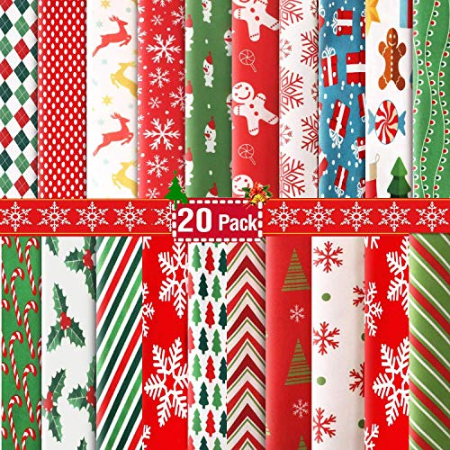 Christmas Fat Quarters Fabric Bundles 9.84'x9.84', 20 Pack DIY Craft Cotton Quilting Fabric for Sewing Sewing Patchwork Gift Wrapper