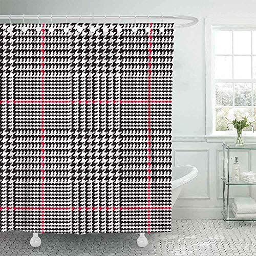 N\A Duschvorhang, Babypartyvorhang Coole Duschvorhang Plaid-Muster in Schwarz Weiß Rot Streifen Klassischer Hahnentritt Lustiger Duschvorhang Mädchen Duschvorhang Camping Duschvorhang