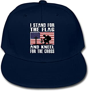 I Stand The Flag and Kneel The Cross Solid Color Baseball Cap Hat Boy Girl Navy