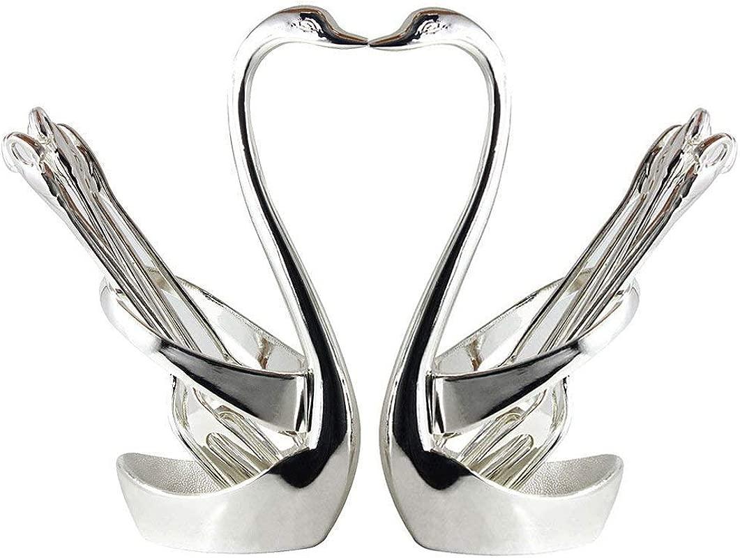 Ziv Stainless Steel Swan Base Dinnerware Fruit Dessert Flatware Set For 14 2 Swan Base Holder With 6 Forks 6 Spoons Swan