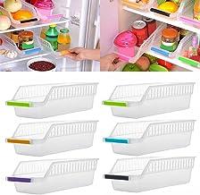 fuchsiaan Organizer do przechowywania w lodówce, dom kuchnia lodówka organizer oszczędzający miejsce wsuwany pod stojak pó...