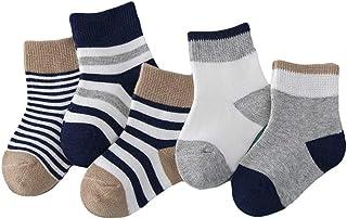Bodhi2000, 5 paia di calzini assortiti alla caviglia, in cotone, antiscivolo, elasticizzati, a strisce