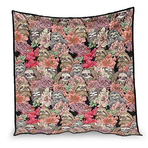 Vintage Perezoso y flores impresión etiqueta aire acondicionado regalos para sofá cama blanco 100 x 150 cm