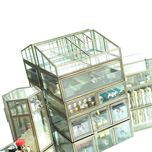 Hersoo Meuble de coiffeuse à 4 couches en verre transparent et métal pour ranger les bijoux et cosmétiques/organisateur de maquillage/beauté miroir