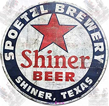 Eletina twinkle Vintage house number Tin Sign Spoetzl Brewery Shiner Beer Shiner Texas Style Round 12x12 inches Wall Decor Door Plaque Tin Sign