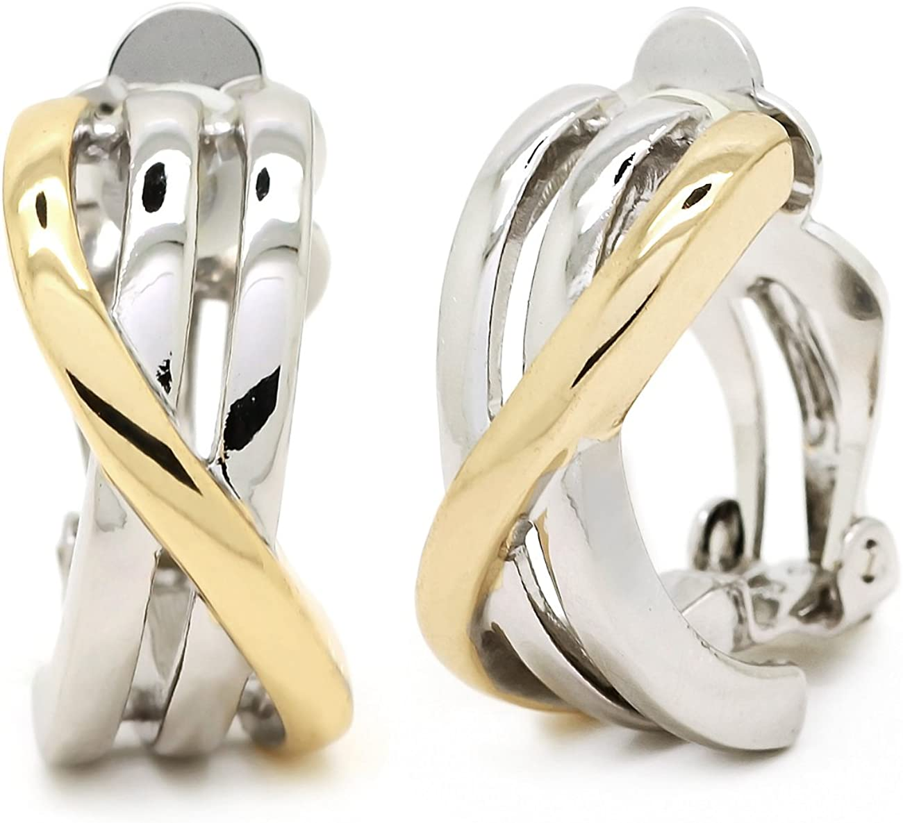 Clip on Earrings Gold Plated Two Tone Criss Cross Crossover Women Fashion
