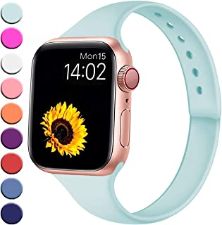 R-fun Slim Bands Compatible with Apple Watch Band 40/44mm Series 4 38/42mm Series 3/2/1, Soft Silicone Sport Strap Wristband for Women Men Kids with iWatch
