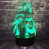 Naruto Sasuke Lámpara de noche con de en 3D LED, acrílico multicolor lámpara de mesa con mando a distancia lámpara de estudio para niños regalo de Navidad