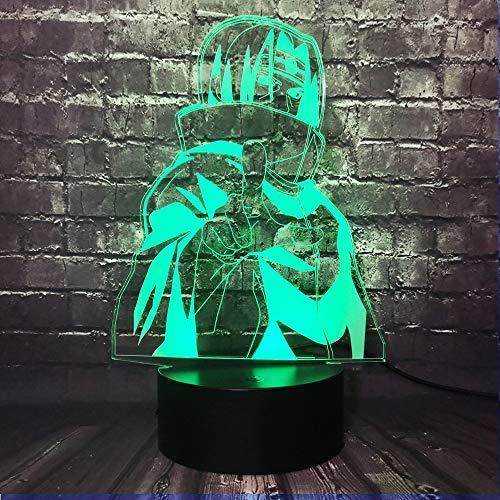 Naruto Sasuke Lámpara de noche con de en 3D LED, acrílico multicolor lámpara de mesa con mando a distancia lámpara de estudio para niños