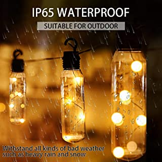 CREASHINE String Lights Waterproof LED Outdoor Solar Power String Lights, Hanging 10 Bottles Bulb 16.5 Ft Patio Lights for...
