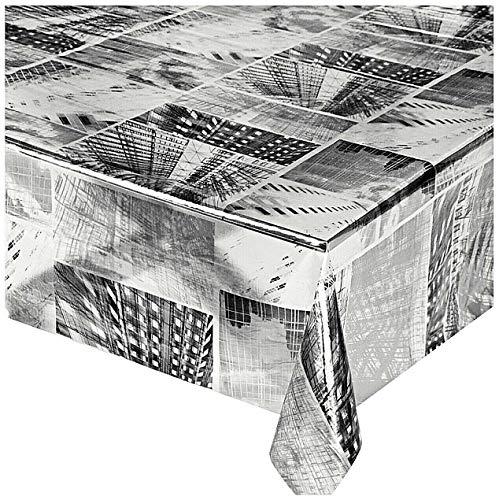 emmevi Tovaglia Cucina Trasparente Antimacchia Città Moderna Plastificata 12 Misure Copri Tavolo su Misura MOD.Kristal Stampato 81 140x200cm