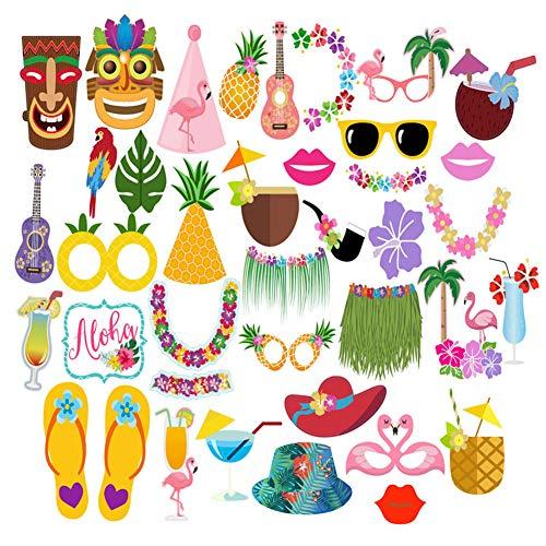 Dsaren 36 Pcs Accesorios para Fotomatón Divertido Bigotes Gafas Photo Booth Props Accesorios para Fiesta, Partido Boda, Hawaiano Beach Pool Parties, Cumpleaños (Paquete de 36)