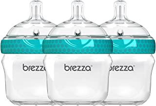 Baby Brezza Two Piece Natural Baby Bottle with Lid - Ergonomic, Wide Neck Design Makes it The Easiest to Clean - Modern Look - Anti-Colic - BPA Free Plastic – Blue – 5 Ounce Size – 3 Pack of Bottles