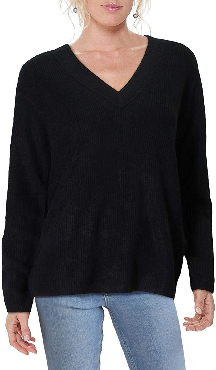 Vince Camuto Womens Ribbed Knit Pullover V-Neck Sweater