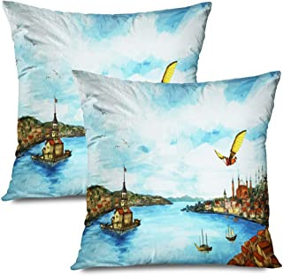 Ahawoso Set of 2 Throw Pillow Covers Square 16x16 Sky Istanbul Panoramic Hezarfen Ancienct Celebi People Design Vintage Flight First Turkey History Zippered Pillowcases Home Decor Cushion Cases
