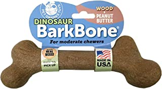 Pet Qwerks Dinosaur WOOD BarkBone Peanut Butter Flavor - Durable Bone Toys for MODERATE & LIGHT CHEWERS | Made in USA with...
