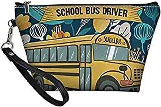 INSTANTARTS School Bus Driver Print Cosmetic Bag Clutch Pouch Portable Ladies Travel Square Makeup Handbag