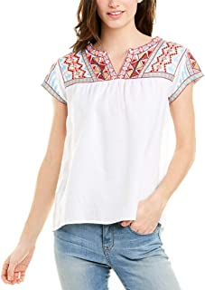 JWLA By Johnny Was Women's Embroidered V-Neck Crop Blouse
