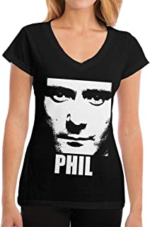 Phil Collins Camisa para Mujer Tops de algodón Camiseta Moda clásica Camiseta de Manga Corta con Cuello en v