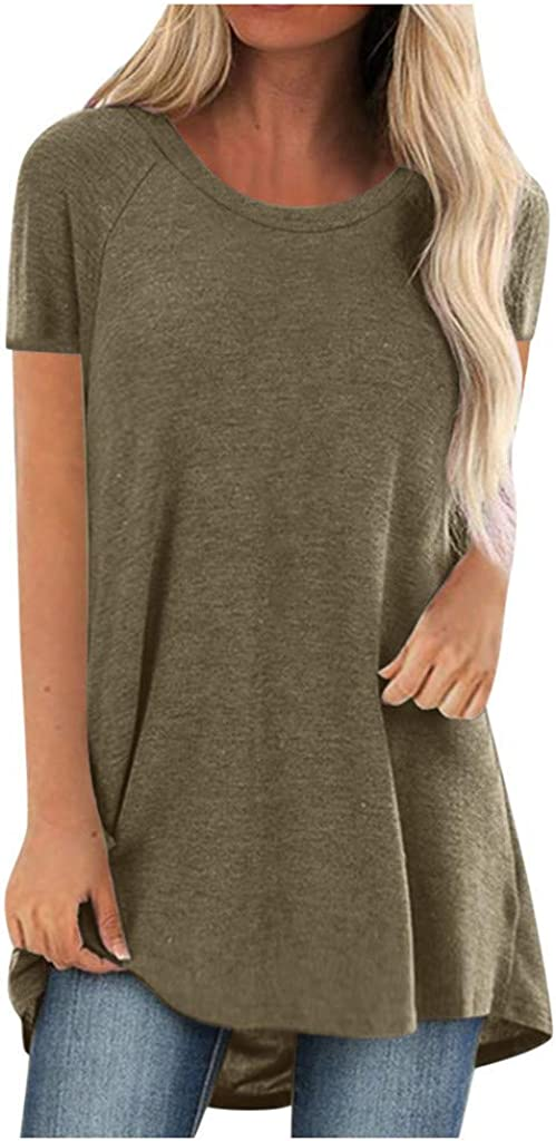 shaozheny Tops for Women Tunic Tops for Leggings Womens Short Sleeve V Neck T Shirts Casual Loose Fit Ladies Summer Tops