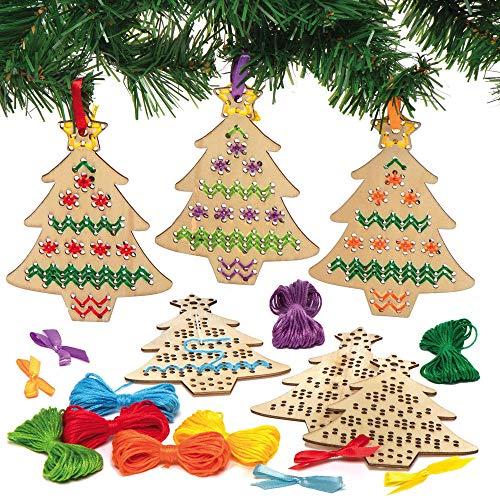 Baker Ross AX424 Kit De Point De Croix En Bois Pour Sapin De Noël - Lot De 5, Décorations D'Arbre, Activité Arts Et Artisanat Pour Enfants, Pack D'Artisanat De Noël.