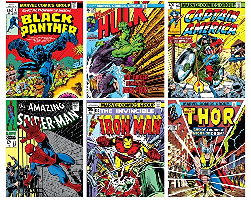 Avengers Wall Art – Superhero Vintage Comic Books Décor Unframed Set of 6 Prints, 8x10 Inch, Spiderman Hulk Captain America Thor Iron man Black Panther, Vintage Comic Book Poster for Adults Boys Bedroom