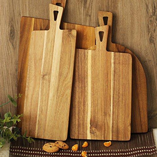 CANDeal Snijplank/serveerplank van acaciahout, houten plank met handvat, dienblad hout in bruin, keukenplank voor het bereiden van groenten, kruiden, vlees en vis