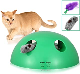 Shydie Cat Interactive Motion Toys, Cat Feather Mice Teaser Toys with Smart Electronic Random Moving Feather and Squeaking Mouse, Newest Cat Teaser Toys for Cats and Kittens, Best Gift