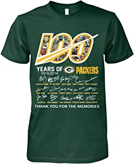 Shirtsupplier USA Green Bay 100 Years 1919-2019 Thank You for Your Memories Football Team Signature T Shirt