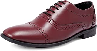 Bacca Bucci® Mens Wingtip Dress Shoes for Men Business Casual Shoes, Brogues Formal Shoes,Lace up Oxford Shoe-Maroon