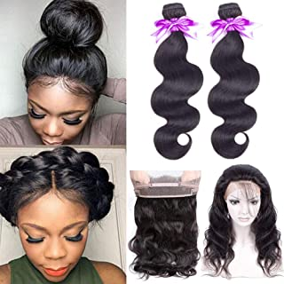 360 Lace Frontal with Bundles 8A Unprocessed Brazilian Body Wave Bundles with 360 Frontal Closure with Baby Hair Brazilian Human Hair Bundles with Closure(18 20 +16)