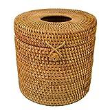 Round Rattan Tissue Box Vine Roll Holder Toilet Paper Cover Dispenser for Barthroom,Home,Hotel and Office