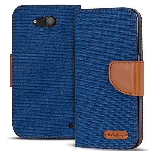 Conie TW19712 Textil Wallet Kompatibel mit Microsoft Lumia 550, Textil Hülle Klapptasche mit Kartenfächer Etui Slim Cover für Lumia 550 Handyhülle Jeans Blau