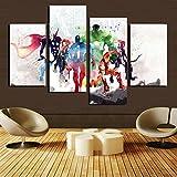 H.COZY 4 piezas Los Vengadores pinturas de arte moderno cuadro decorativo pinturas de Cuadros Decorativos en lienzo clipart para sala de estar de pared (sin Marco) sin Marco FCR20 121,92 cm x 71,12 cm