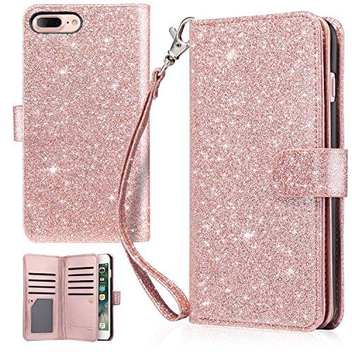 iPhone 7 Plus Case, iPhone 8 Plus Wallet Case, UrbanDrama Glitter Shiny Faux Leather Magnetic Closure Credit Card Slot Cash Holder Protective Case for iPhone 7 Plus/iPhone 8 Plus 5.5', Rose Gold