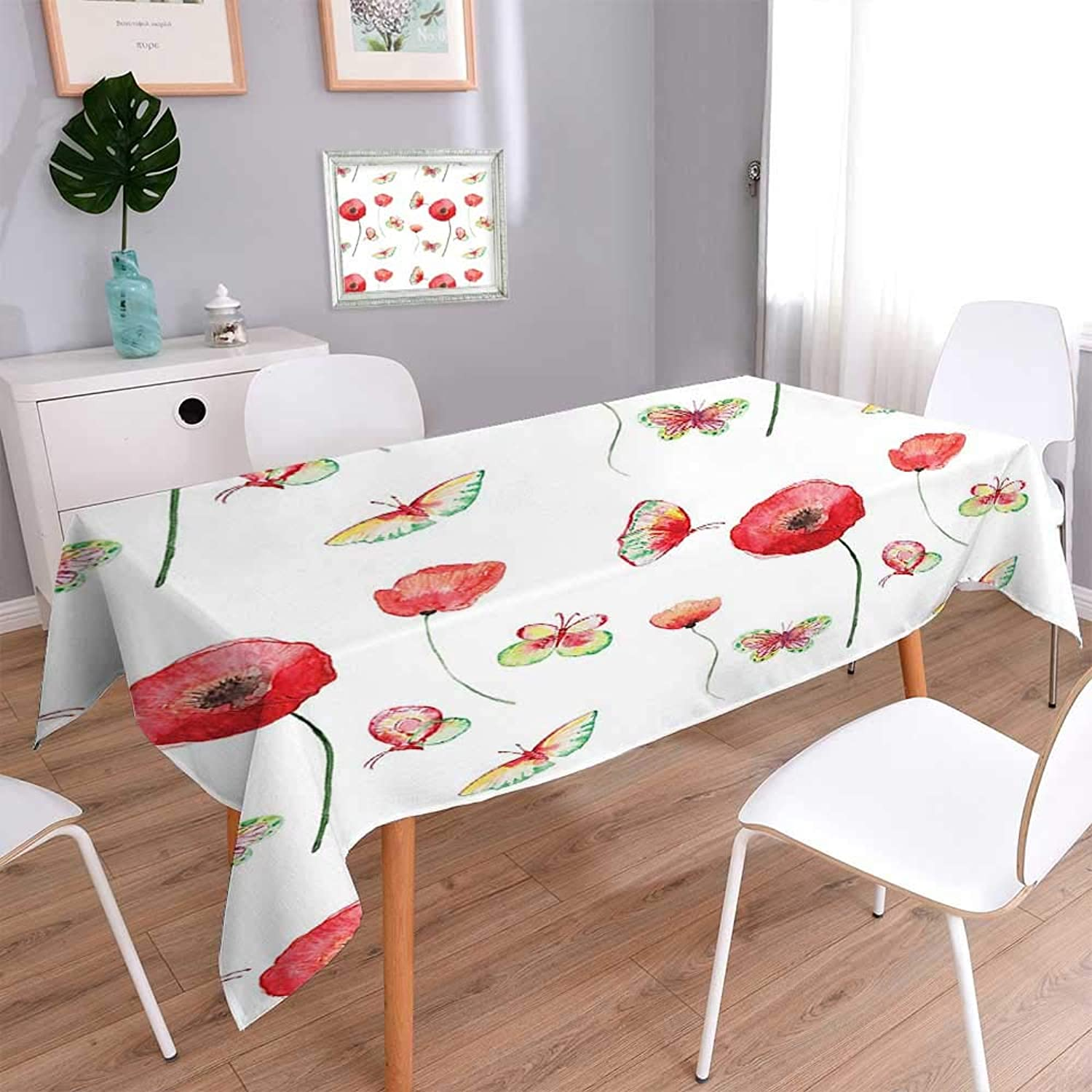 L-QN Rectangle Polyester Table Cloth Vintage Pattern with Poppy and Butterfly Romance Themed Illustration Rectangle Table 70 x120