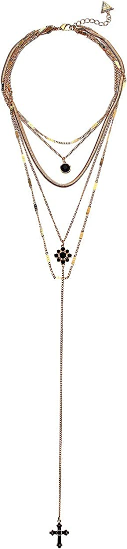 5 Layer Dainty Chain Necklace with Y-Neck Jet, Gold