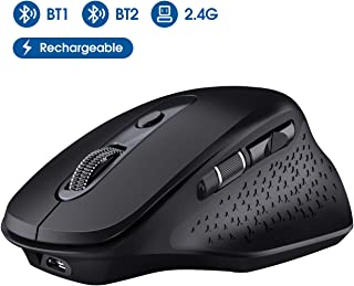 VicTsing Multi-Device Bluetooth Wireless Mouse, Comfortable Ergonomic Rechargeable Mouse with USB Receiver and Thumb Wheel, Built-in Rechargeable Battery for Laptop, Mac, PC and Windows etc.
