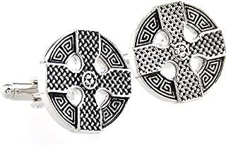 MRCUFF Celtic Cross Irish Ireland Cufflinks Pair in a Presentation Gift Box & Polishing Cloth