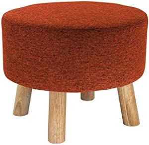 ZPF Portable Ottoman Upholstered Sofa Stool, Change Shoes Stool Fashion Fabric Round Stool Bed End Stool Home Solid Wood Stool Living Room Footstool 44×34cm Heavy Duty Chair (Color : G)