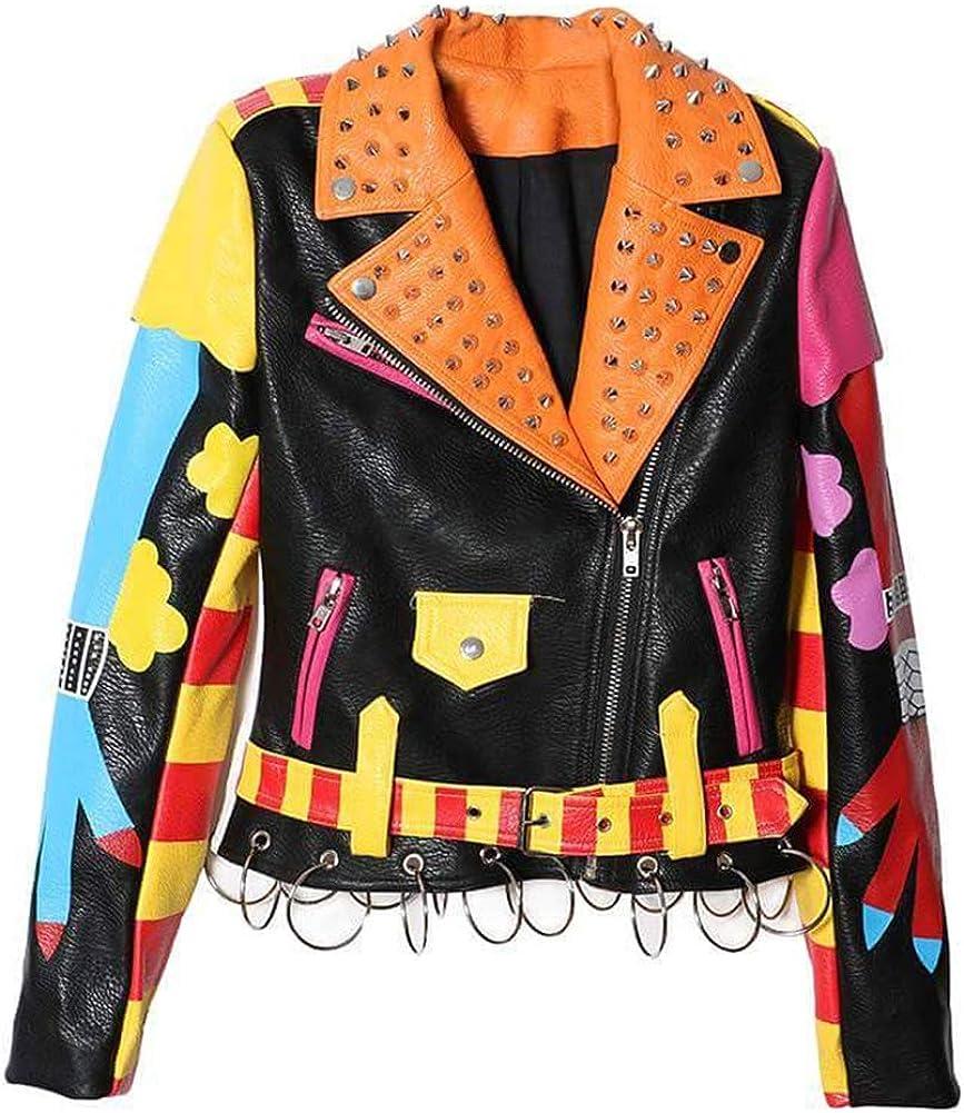 Hzikk Women Rivet Clothing Print Streetwear Short Leather Jacket Zipper Slim Motorcycle Coat,Multi,M
