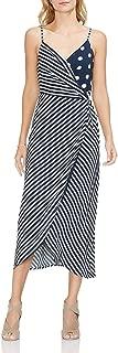 Womens Sleeveless Modern Stripe Mix Print Wrap Dress