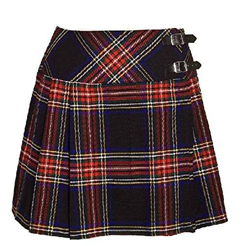 Schottenrock / Kilt / Minirock für Damen, mit Schottenmuster (Stewart-Clan) Gr. 6 UK, Schwarz/Schottenmuster