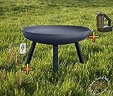 BTV Feuerschale mit rechteckigen Füßen, XXXL ca. 100cm mit Zubehör: Reiniger + Grillbesteck Feuerstelle Feuerkorb Terrassenofen Grill