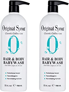 Original Sprout Hair and Body Baby Wash. Vegan Baby Shampoo and Body Wash for Sensitive Skin. 32 Ounces. 2 Pack. (Packagin...
