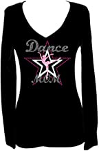 Rockeroo Boutique Dance Mom Rhinestone Womens V Neck Long Sleeve Tee Shirt