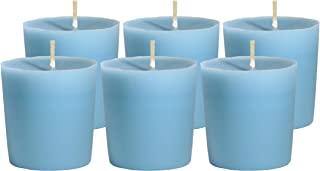 CandleNScent Light Blue Votive Candles | Unscented - 15 Hour Burn Time - Made in USA (Pack of 6)