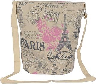 STRIPES Eiffel Tower Design Cotton Fabric Waterproof Sling Bag for Women (Pink)